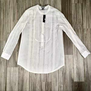 THEORY Meshion Lace Pleated Baby Doll Henley Shirt